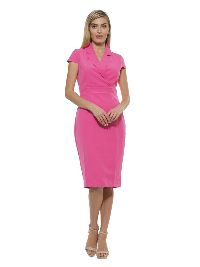 KENNEDY CAP SLEEVE LAPEL MIDI DRESS