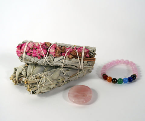'Spread Love' Rose Quartz Worry Stone Kit