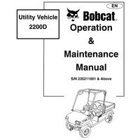 Bobcat 2200D Utility Vehicle Operation and Maintenance Manual - 6903128-EN (09-05)