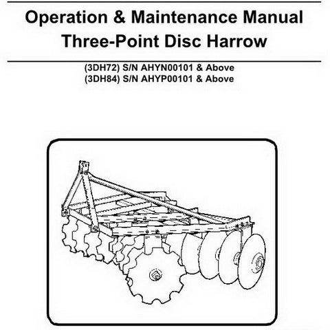 Bobcat Three-Point Disc Harrow Operation and Maintenance Manual - 6989428 (6-09)