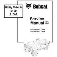 Bobcat 2100, 2100S Utility Vehicle Service Manual - 6901987 (5-09)