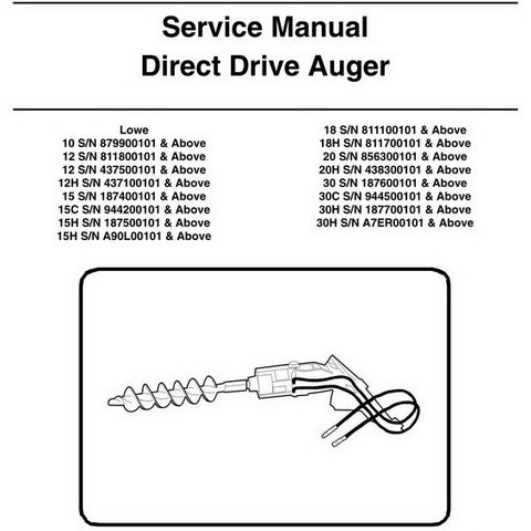 Bobcat 10-30H Direct Drive Auger Service Manual - 6900889