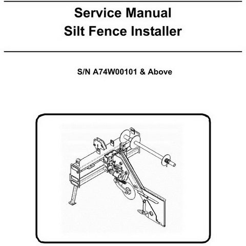 Bobcat Silt Fence Installer Service Manual - 6904966 (3-07)