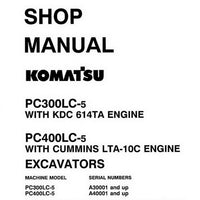 Komatsu PC300LC-5, PC400LC-5 Hydraulic Excavator Shop Manual - CEBM207041