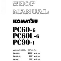 Komatsu PC60-6, PC60L-6, PC90-1 Hydraulic Excavator Shop Manual - SEBM02010607