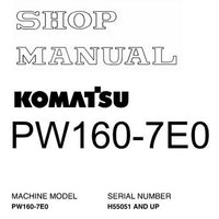 Komatsu PW160-7E0 Hydraulic Excavator Shop Manual (H55051 and up) - VEBM395100