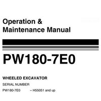 Komatsu PW180-7E0 Hydraulic Excavator Operation & Maintenance Manual (H55051 and up) - VEAM400102