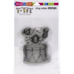 Stampendous House Mouse Cling Stamp Little Drummers HMCP126 744019239104