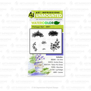 Art Impressions Watercolor Cling Rubber Stamps #WC4051 Foliage Set 608729386414