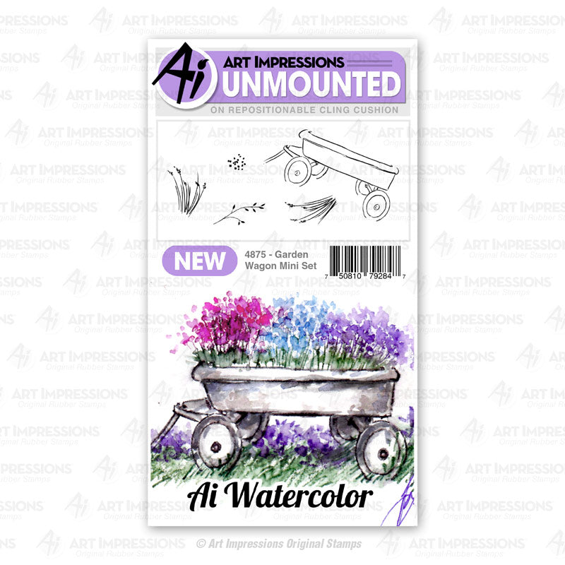 Art Impressions Watercolor Cling Rubber Stamps #WC4875 Garden Wagon Mini Set 750810792847