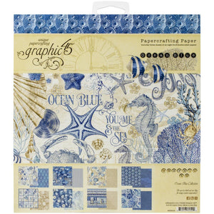 "Graphic 45 Ocean Blue Double-Sided Paper Pad 8""X8"" 24/Pkg #4502015 850013653294"