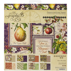 "Graphic 45 Fruit & Flora Double-Sided Paper Pad 8""X8"" 24/Pkg # 4501199 850013653133"