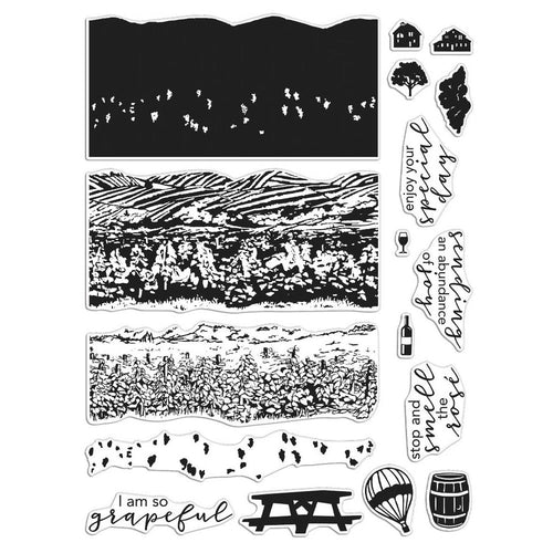 Hero Arts Clear Stamps Set Vineyard Heroscape CM452 085700927086