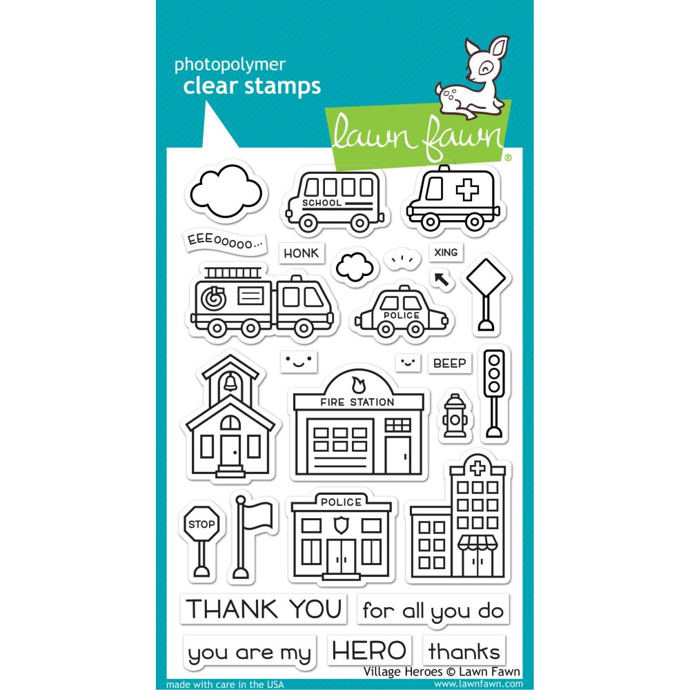 Lawn Fawn Clear Stamps and Dies -Village Heroes LF2327 and LF2328 035292675544, 035292675551