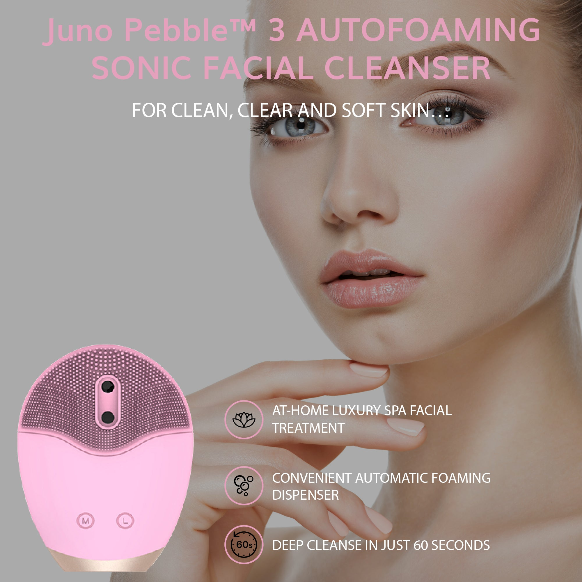 Juno Pebble™ Autofoaming Sonic Facial Cleanser