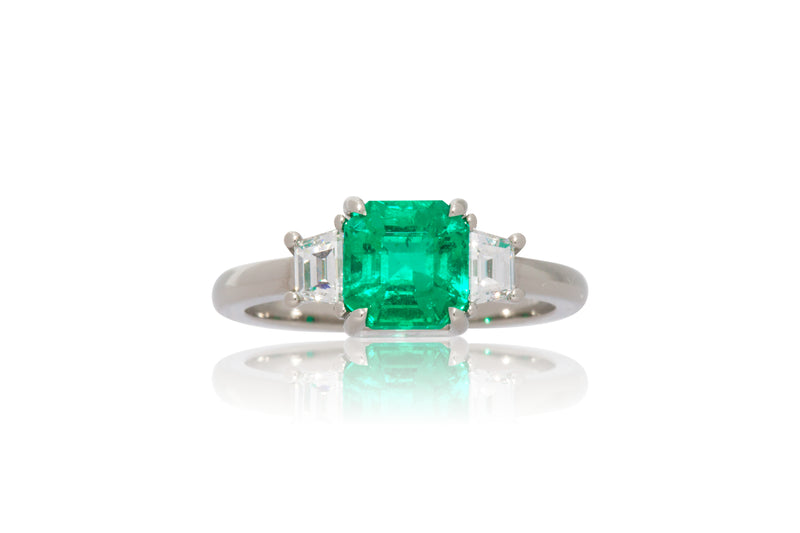 1.40ct. Step Cut Emerald with Trapezoid Diamond Accents