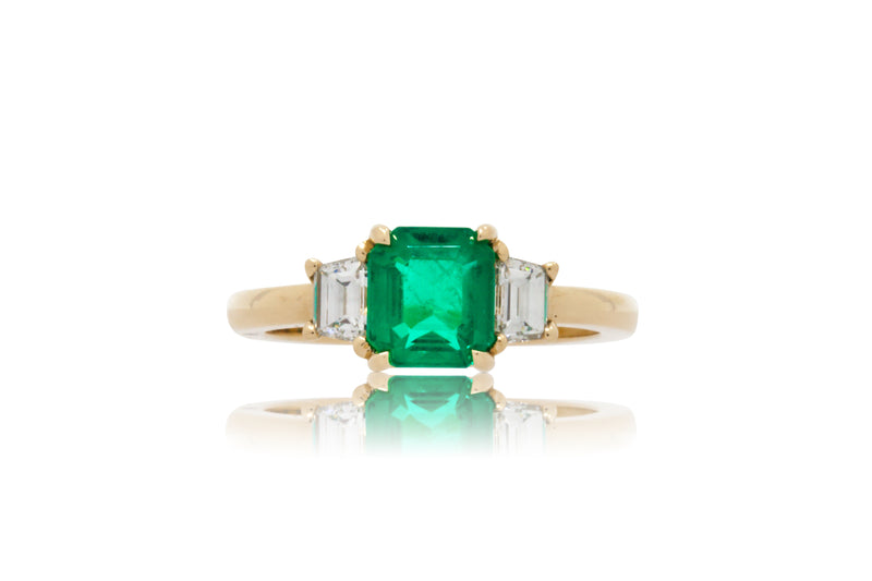 1.18ct. Emerald Cut Colombian Emerald with Trapezoid Accents