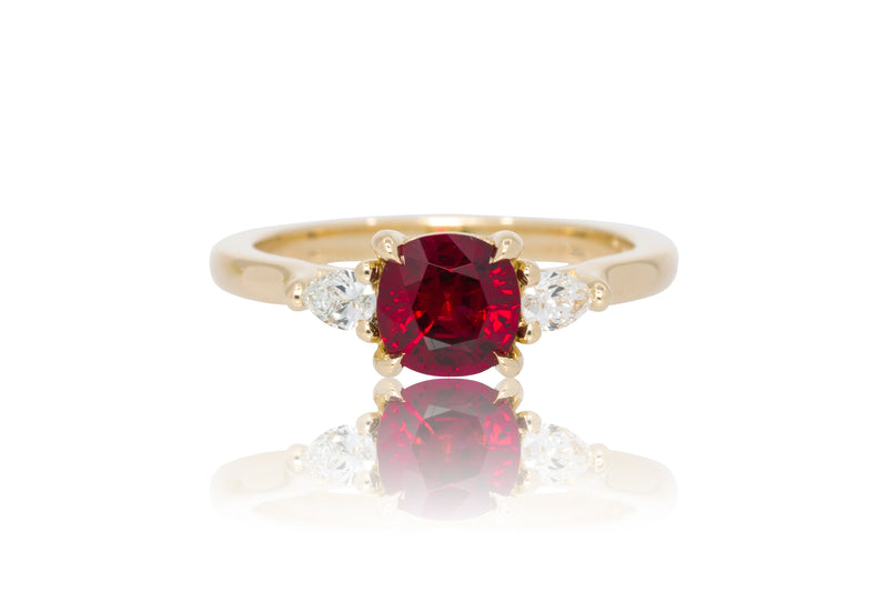 1.14ct. Cushion Cut Vivid Mozambique Ruby With Pear Shape Accents