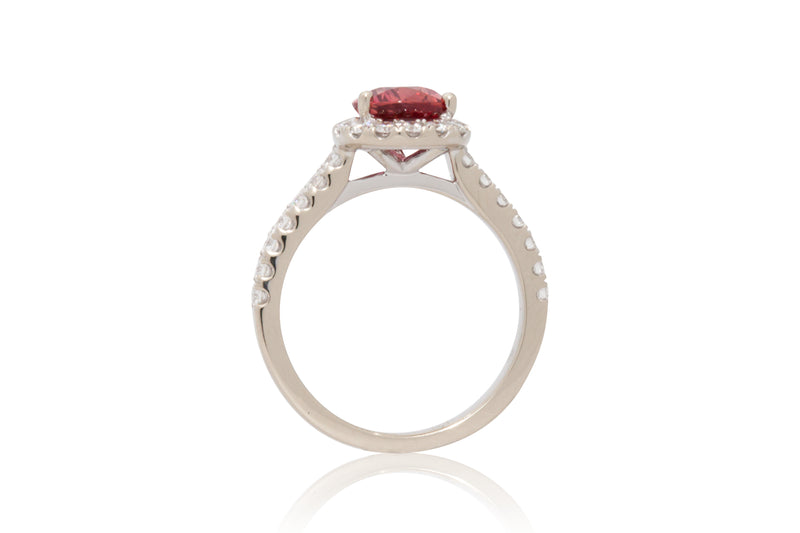 2.08ct. Intense Orangey/Pink Pear Shape Sapphire With A Diamond Halo