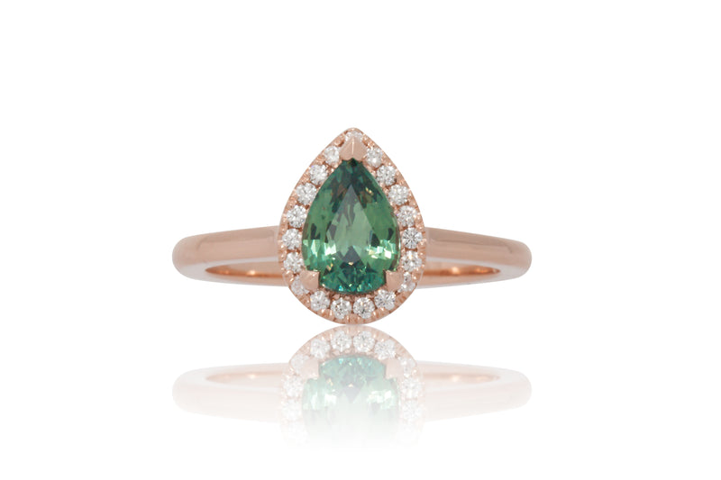1.23ct. Blue/Green Pear Shape with A Diamond Halo