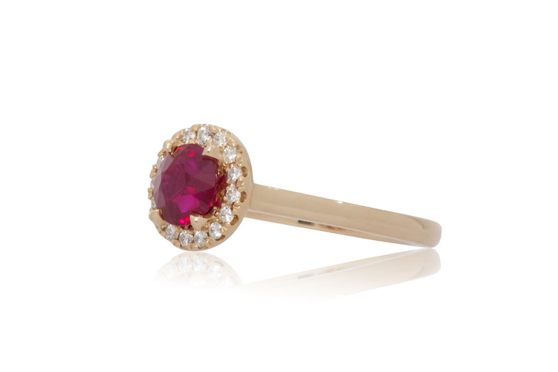 1.03ct. Round Burmese Ruby with A Diamond Halo
