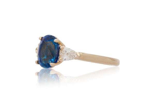 3.24ct. Oval Blue Sapphire with Pear Shape Diamond Accents