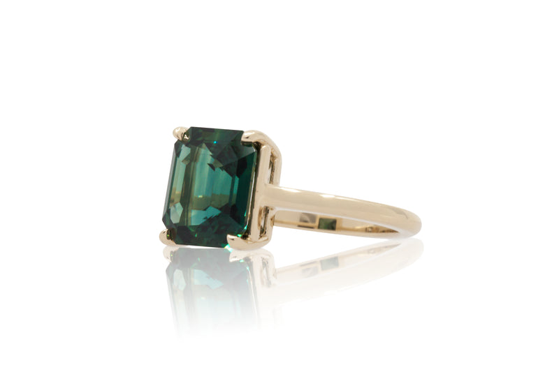 5.20ct. Fancy Blue/Green Octagon Solitaire