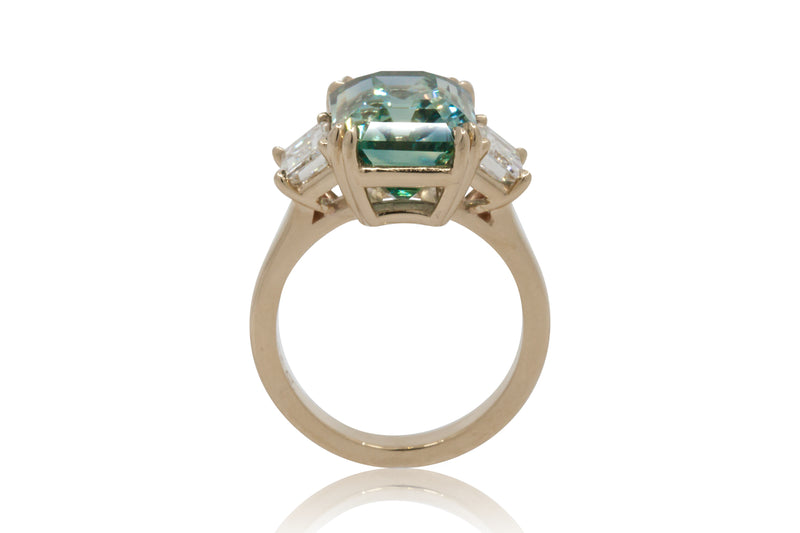 10.01ct. Teal Emerald Cut Sapphire With Emerald Cut Diamond Accents
