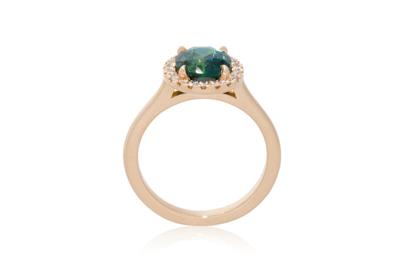 2.44ct. Lively Blue/Green Sapphire With Diamond Halo