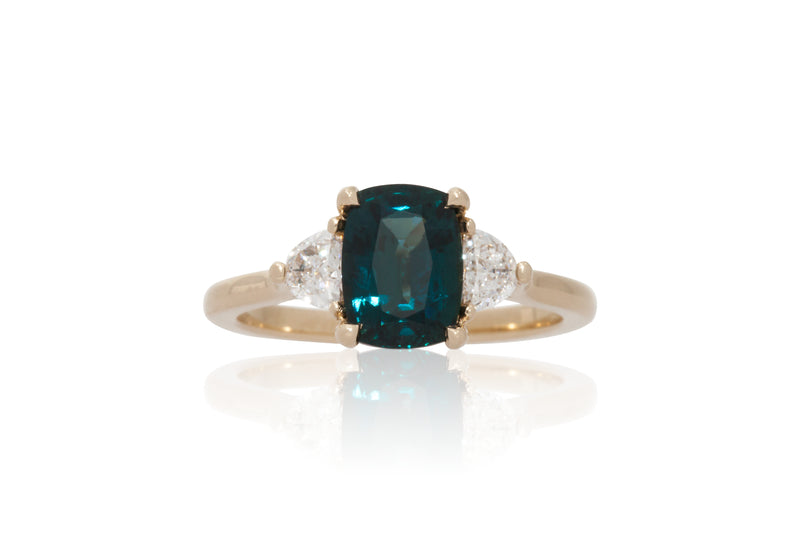 Elongated Cushion Blue/Green Sapphire with Half Moon Accents
