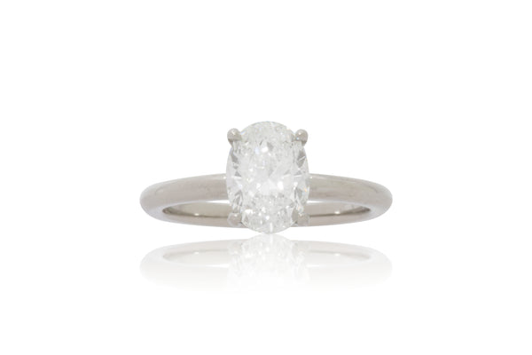 White Gold Oval Diamond Solitaire