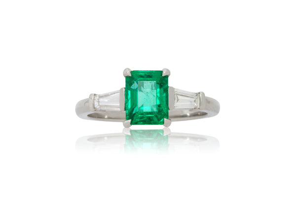1.46ct. Emerald Cut Muzo Emerald With Tapered Baguette Accents