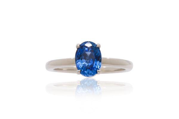 1.77ct. Oval Medium Blue Sapphire Solitaire