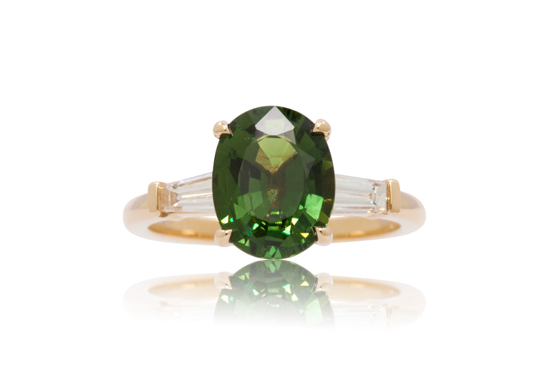 2.88ct. Lively Green Oval Sapphire With Tapered Baguette Accents