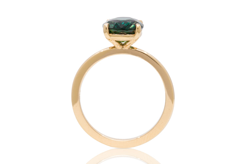 4.16ct. Oval West Coast Green Sapphire Solitaire