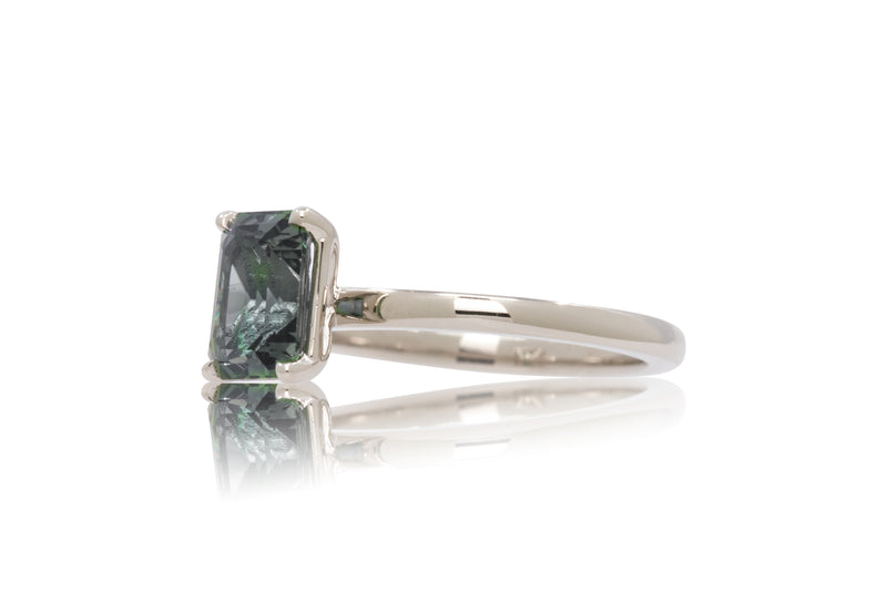 1.96ct. Light Blue/Green Emerald Cut Sapphire Solitaire