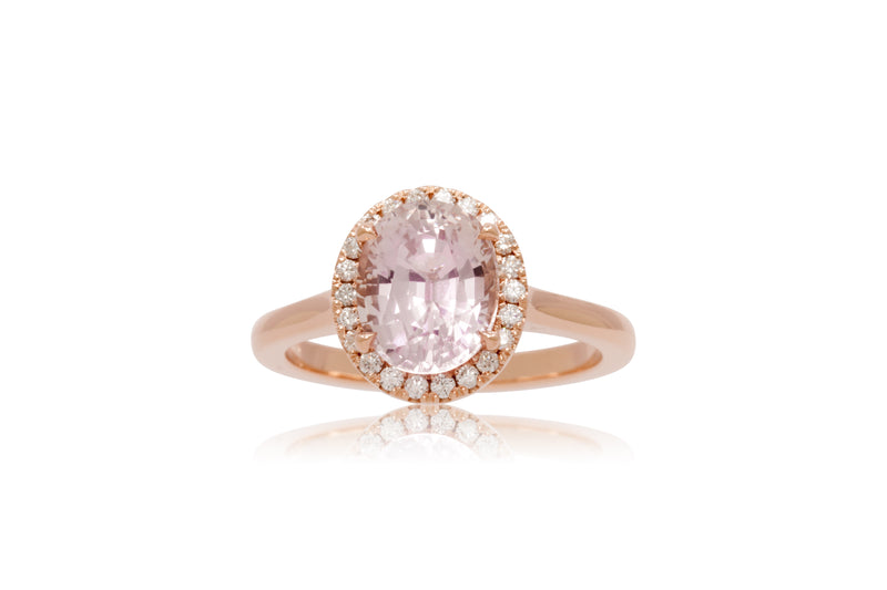 3.10ct. Pink Sapphire With A Diamond Halo