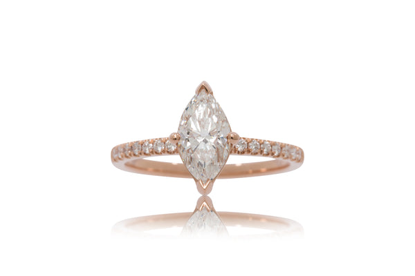 Marquise Diamond With A Dainty Pavé Band