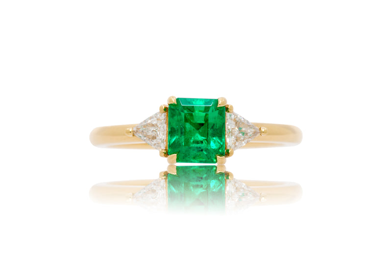 1.05ct. Octagon Cut Muzo Emerald With Trillion Accents