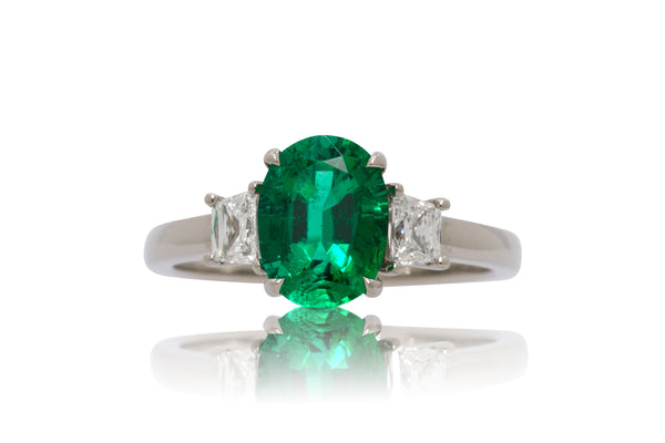 1.74ct. Oval Cut Zambian Emerald With Trapezoid Accents