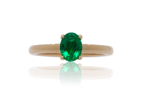 0.75ct. Oval Cut Muzo Colombian Emerald Solitaire