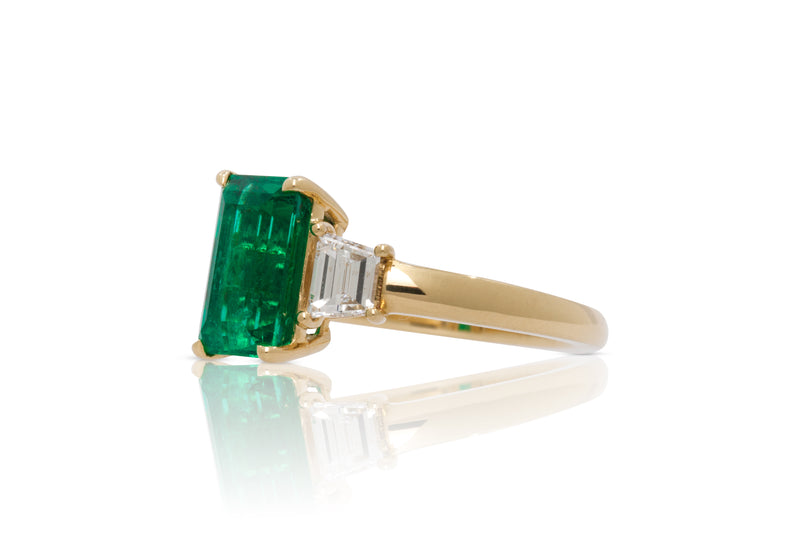 Emerald Cut Chivor Emerald With Trapezoid Accents