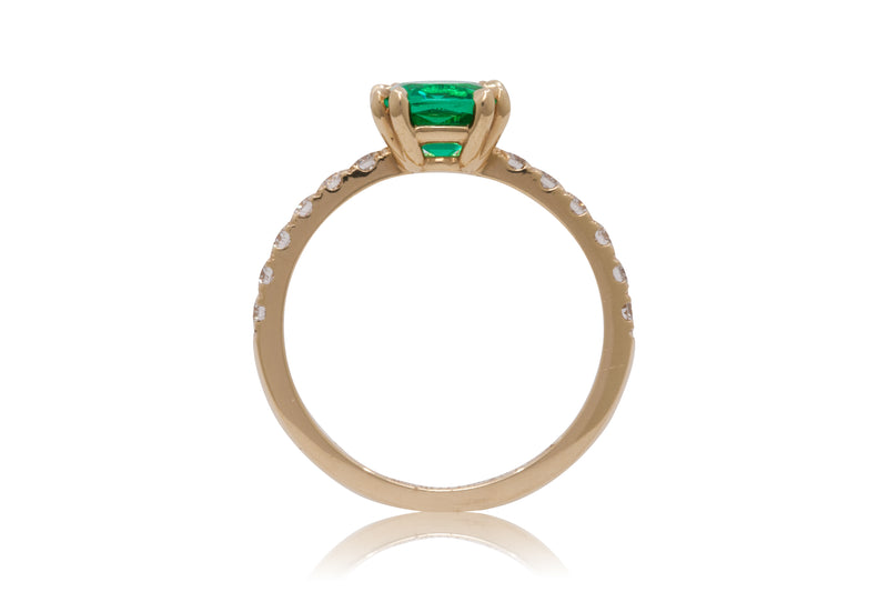 Cushion Cut Zambian Emerald With A Pavé Diamond Band