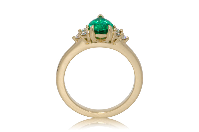 0.85ct. Pear Shape Chivor Emerald With Diamond Accents