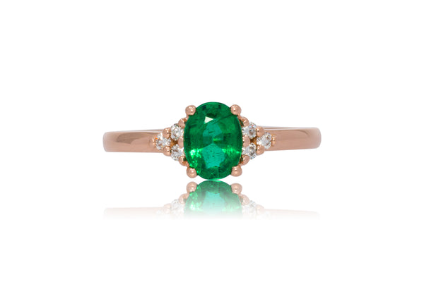 0.82ct. Oval Cut Muzo Emerald With Diamond Accents
