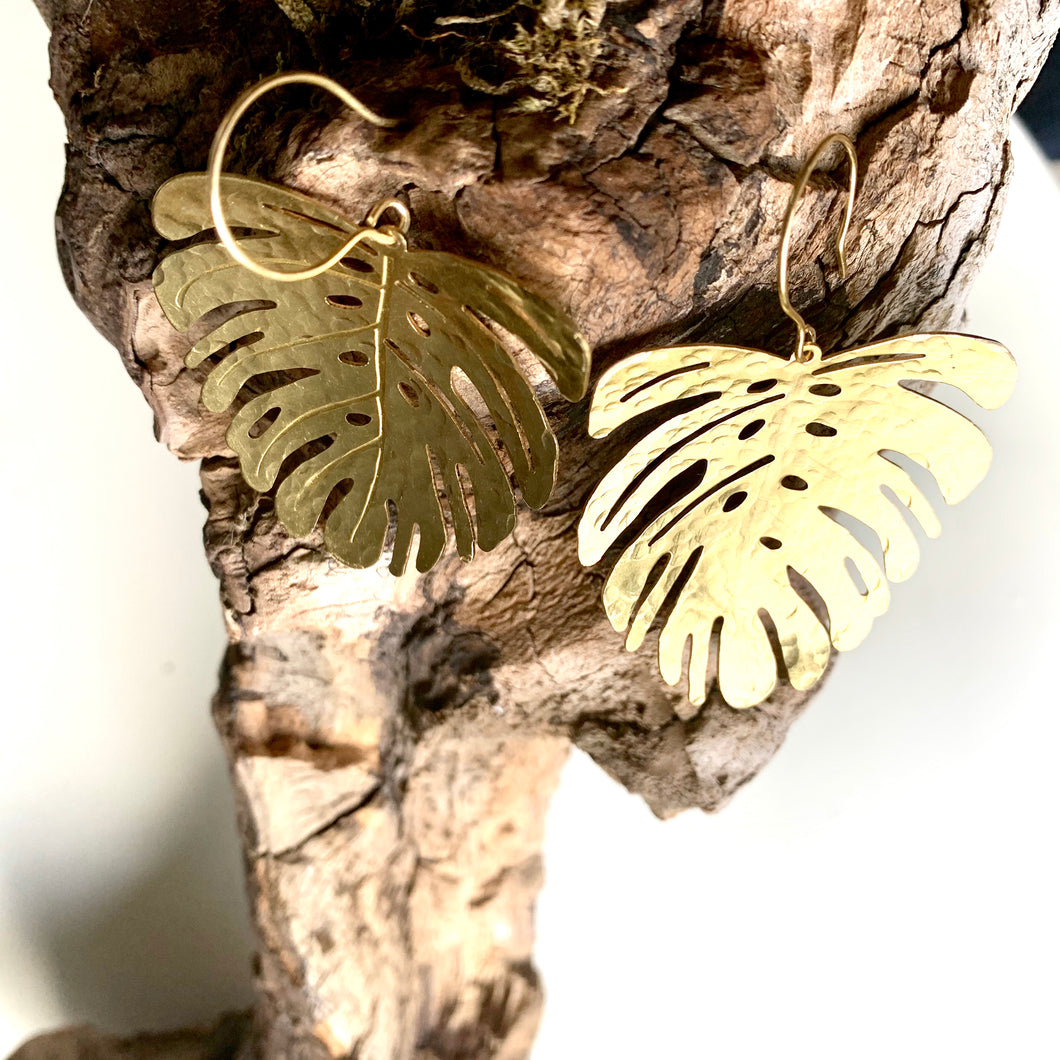 hammered brass monstera leaf earrings