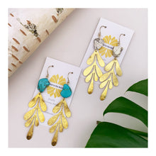 Load image into Gallery viewer, Fern Leaf Earrings | turquoise and white