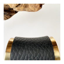 Load image into Gallery viewer, Brass and Motorcycle Leather Bracelet | concave