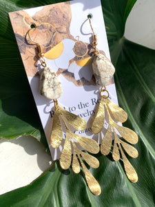fern leaf brass earrings with gem