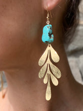 Load image into Gallery viewer, fern leaf brass earrings with gem